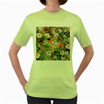 Spring Flowers Womens  T-shirt (Green)
