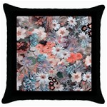 Spring Flowers Black Throw Pillow Case