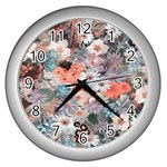 Spring Flowers Wall Clock (Silver)