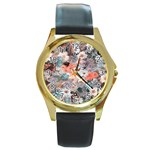 Spring Flowers Round Leather Watch (Gold Rim)