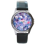 Spring Flowers Blue Round Leather Watch (Silver Rim)