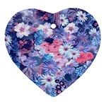 Spring Flowers Blue Heart Ornament