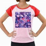 Spring Flowers Blue Women s Cap Sleeve T-Shirt (Colored)