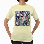 Spring Flowers Blue  Womens  T-shirt (Yellow)