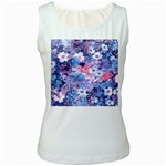 Spring Flowers Blue Womens  Tank Top (White)