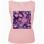 Spring Flowers Blue Womens  Tank Top (Pink)
