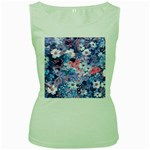 Spring Flowers Blue Womens  Tank Top (Green)