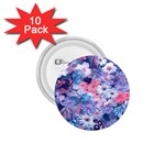 Spring Flowers Blue 1.75  Button (10 pack)