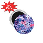 Spring Flowers Blue 1.75  Button Magnet (100 pack)
