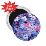 Spring Flowers Blue 2.25  Button Magnet (100 pack)