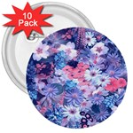 Spring Flowers Blue 3  Button (10 pack)