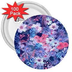 Spring Flowers Blue 3  Button (100 Pack) by ImpressiveMoments