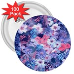 Spring Flowers Blue 3  Button (100 pack)