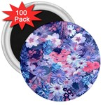 Spring Flowers Blue 3  Button Magnet (100 pack)