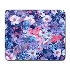 Spring Flowers Blue Large Mouse Pad (rectangle) by ImpressiveMoments