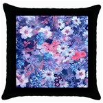 Spring Flowers Blue Black Throw Pillow Case