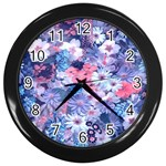 Spring Flowers Blue Wall Clock (Black)