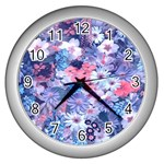 Spring Flowers Blue Wall Clock (Silver)