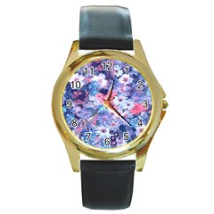 Spring Flowers Blue Round Leather Watch (gold Rim)  by ImpressiveMoments