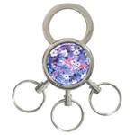 Spring Flowers Blue 3-Ring Key Chain