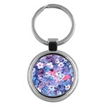 Spring Flowers Blue Key Chain (Round)