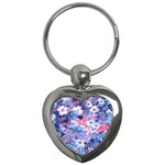 Spring Flowers Blue Key Chain (Heart)
