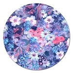 Spring Flowers Blue Magnet 5  (Round)