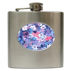 Spring Flowers Blue Hip Flask by ImpressiveMoments
