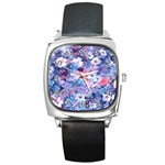 Spring Flowers Blue Square Leather Watch