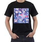 Spring Flowers Blue Mens' Two Sided T-shirt (Black)