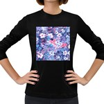 Spring Flowers Blue Womens' Long Sleeve T-shirt (Dark Colored)