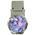 Spring Flowers Blue Money Clip with Watch