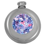 Spring Flowers Blue Hip Flask (Round)