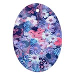 Spring Flowers Blue Oval Ornament (Two Sides)