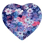 Spring Flowers Blue Heart Ornament (Two Sides)