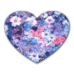 Spring Flowers Blue Mouse Pad (heart) by ImpressiveMoments
