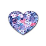 Spring Flowers Blue Drink Coasters 4 Pack (Heart)