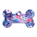 Spring Flowers Blue Dog Tag Bone (Two Sided)