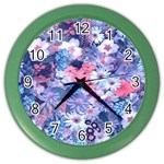 Spring Flowers Blue Wall Clock (Color)