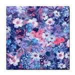 Spring Flowers Blue Face Towel