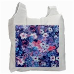 Spring Flowers Blue Recycle Bag (One Side)