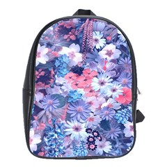 Spring Flowers Blue School Bag (large) by ImpressiveMoments