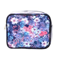 Spring Flowers Blue Mini Travel Toiletry Bag (one Side) by ImpressiveMoments