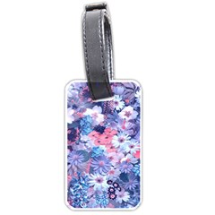 Spring Flowers Blue Luggage Tag (one Side) by ImpressiveMoments
