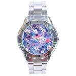 Spring Flowers Blue Stainless Steel Watch