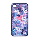 Spring Flowers Blue Apple iPhone 4 Case (Black)