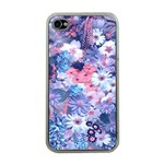 Spring Flowers Blue Apple iPhone 4 Case (Clear)