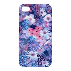 Spring Flowers Blue Apple Iphone 4/4s Hardshell Case by ImpressiveMoments