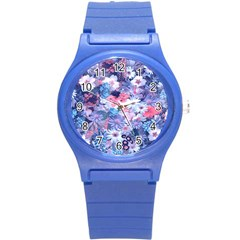Spring Flowers Blue Plastic Sport Watch (small) by ImpressiveMoments