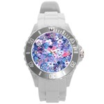 Spring Flowers Blue Plastic Sport Watch (Large)